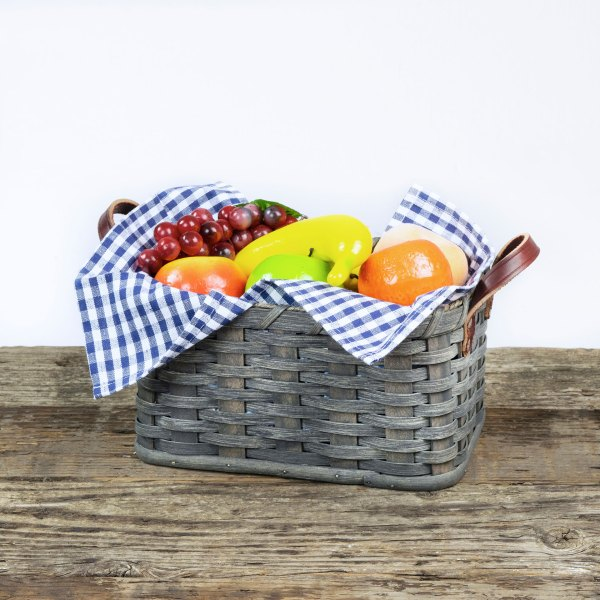 Large Fruit Basket with Leather Handle Gray