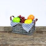 Medium Fruit Basket with Leather Handle Gray