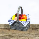 Medium Fruit Basket with Wooden Handle Gray