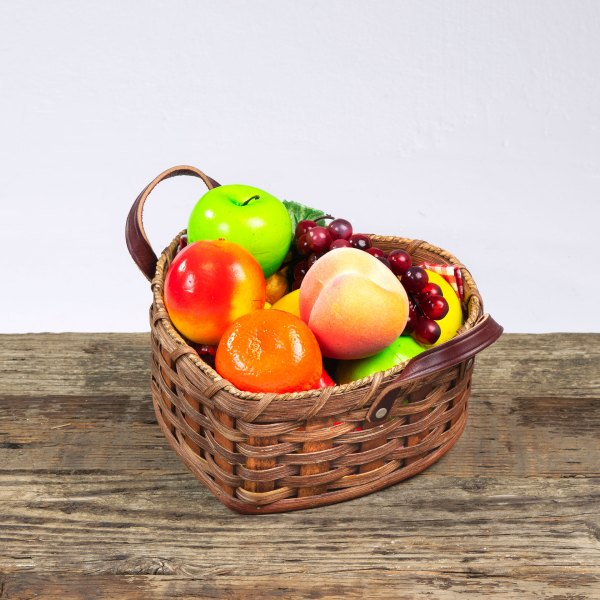 Medium Heart Fruit Basket with Leather Handle Brown