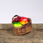 Small Heart Fruit Basket with Leather Handle Brown