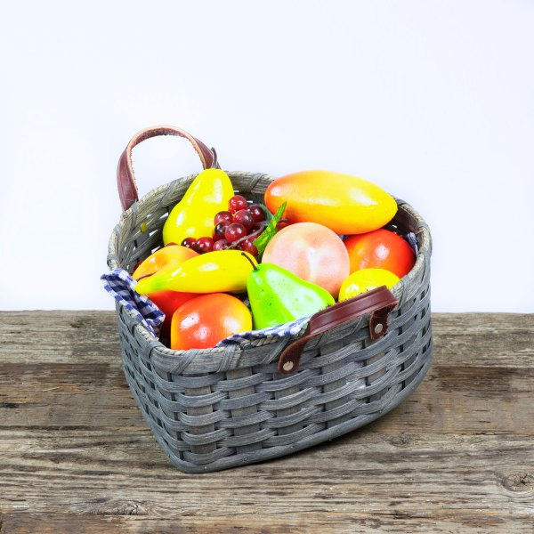 Large Heart Fruit Basket with Leather Handle Gray