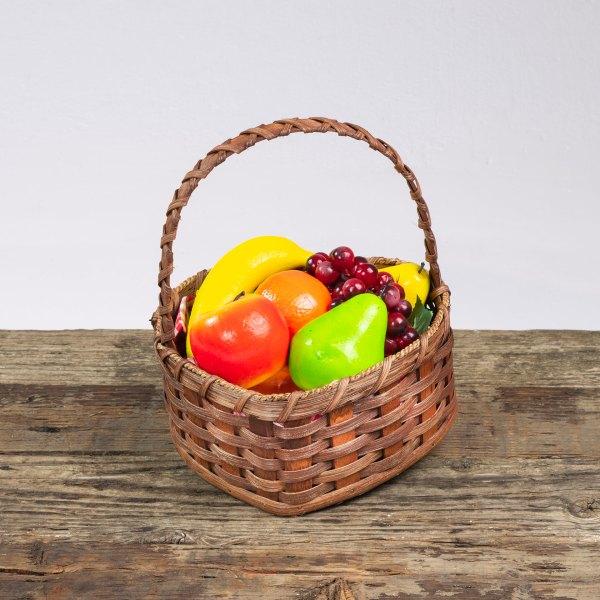 Medium Heart Fruit Basket with Wooden Handle Brown
