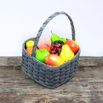 Large Heart Fruit Basket with Wooden Handle Gray