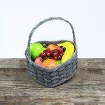 Medium Heart Fruit Basket with Wooden Handle Gray