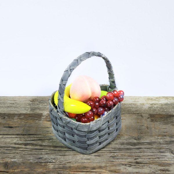 Small Heart Fruit Basket with Wooden Handle Gray