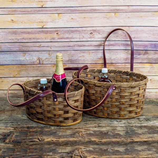 Large Oval Market Basket Brown