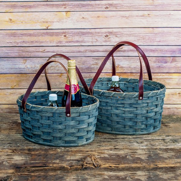 Large Oval Market Basket Gray