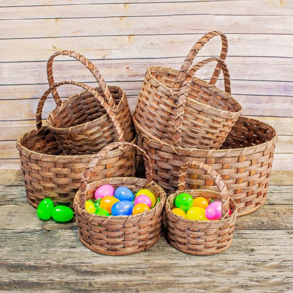 Medium Round Egg Basket Brown