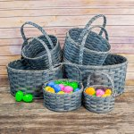 Extra Large Round Egg Basket Gray