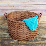 Large Round Laundry Basket Brown