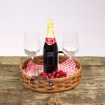 Round Serving Tray Basket Brown