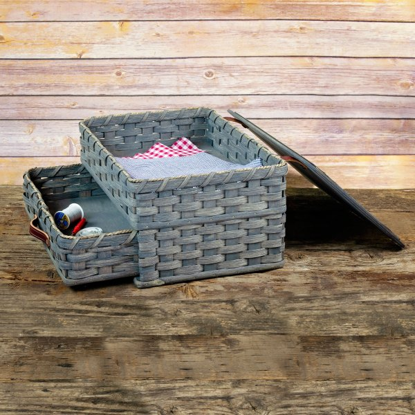 Large Sewing Chest Drawer Basket Gray
