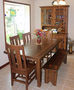 Amish Reclaimed Old Wood Plank Farm Table