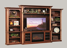Amish Jefferson Premier Entertainment Center with Fireplace