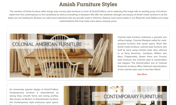 Furniture Styles Page Screenshot