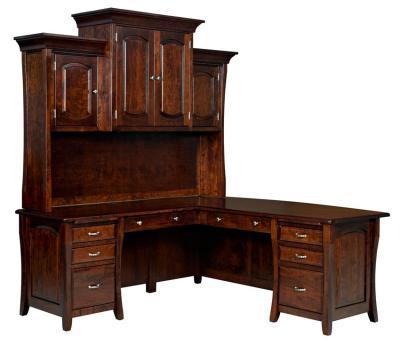 Amish Berkley L Desk with Optional Hutch