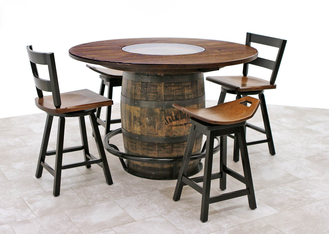 whiskey barrel pub table and chairs toddler round wooden single with 2 saddle dutch craft