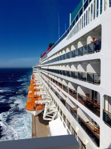 View from the bridge of the QM2 on the move in the Atlantic.