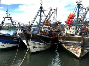 Essaouira Drudgig Boats in Harbor
