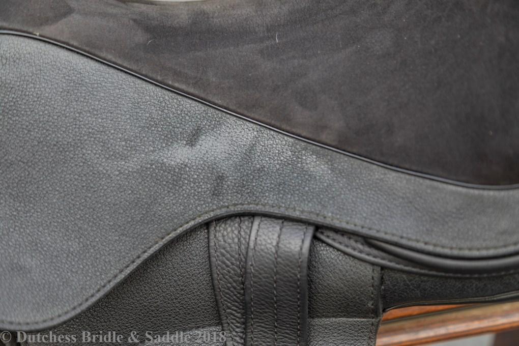 Veritas Novus dressage saddle detail closeup