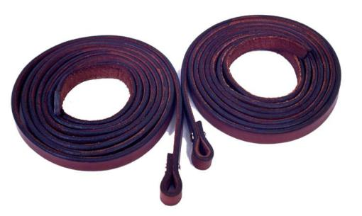 "Fabtron Chestnut Leather 5/8"" Split Reins"