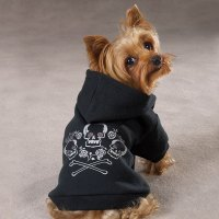 Zack & Zoey Fleece Skull & Crossbone Dog Pet Hoodie Puppy