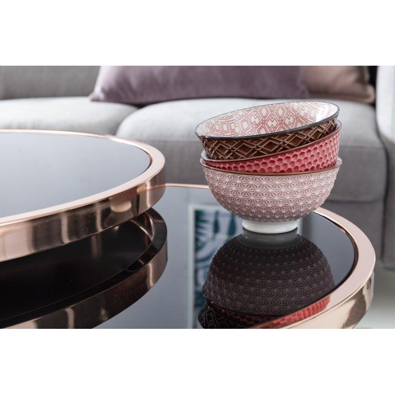 Set van 2 tafels  42 cm  45 cm metaal glas Zwart  koper