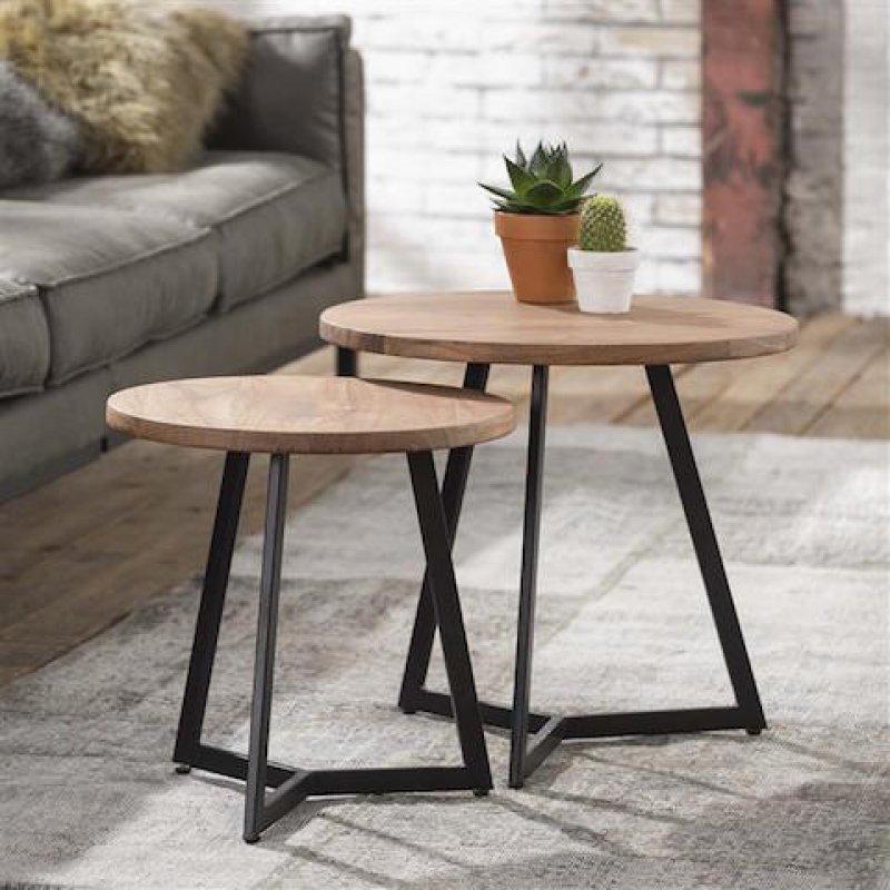 Bijzettafels en salontafels  Bijzettafel set metaal  hout