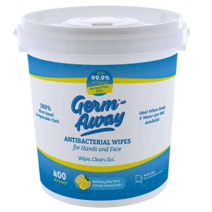 Germ-Away Antibacterial Hand and Face Wipes White Bucket - 400 Count - Front View With Lid