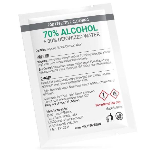 Wipex 70 percent alcohol sachet back