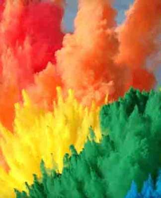 Regenboog explosies met verf