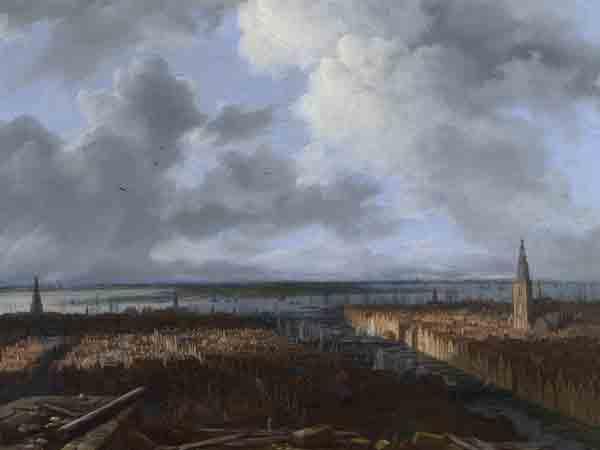 Van Ruisdael, Gezicht op Amsterdam vanaf de steigers van het nieuwe stadhuis. 1670-1673. Londen, National Gallery