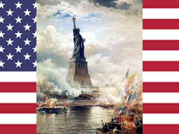 De onthulling van het Vrijheidsbeeld in 1886