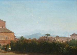 Frederik de Moucheron -Landschap met gezicht op Rome vanuit de tuin van de Villa Celimontana