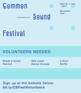 Common Sound Festival volunteer flyer