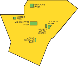 Map of parks in Dutchtown.