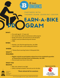 Flyer for St. Louis Bicycle Works Earn-a-Bike program at Thomas Dunn Learning Center.
