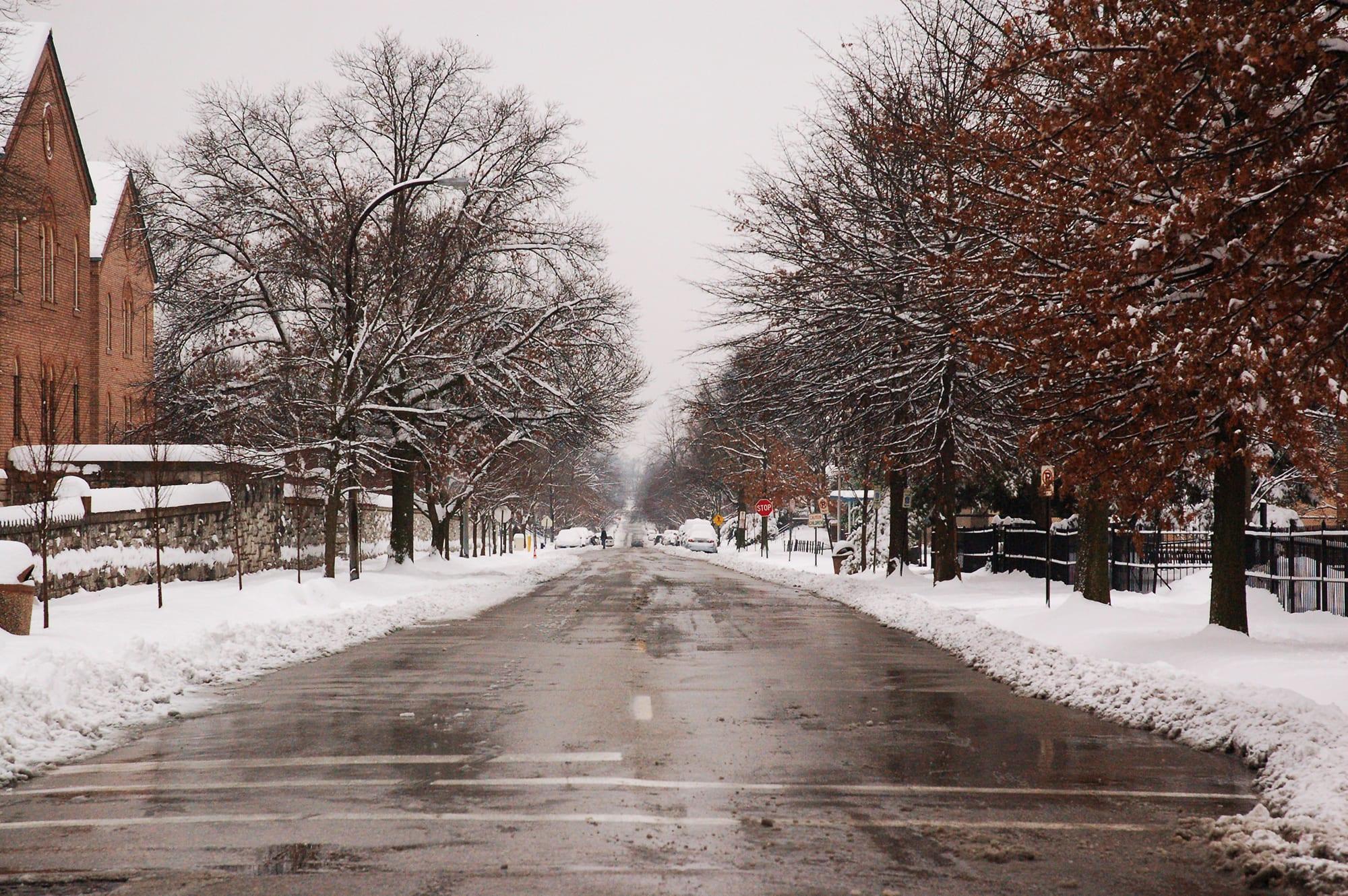 Compton Avenue in the snow.