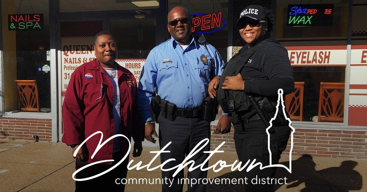 Dutchtown CID Safety Officers in front of Queen's Nails on Meramec.