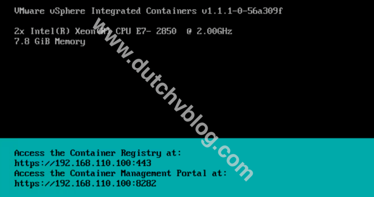 Console screen of the vSphere Integrated Containers appliance