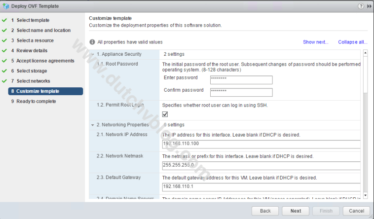 OVA installation step 8 vSphere Integrated Containers
