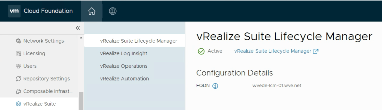 vRealize Suite Lifecycle Manager installed