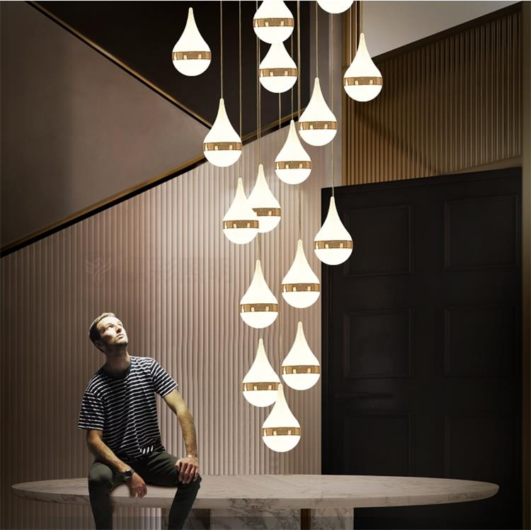 Dutti Led Pendant Light Long Staircase Lamp Post Modern