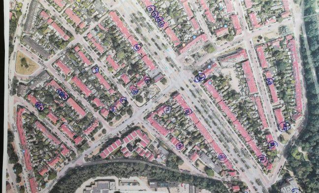 Telling van zonnepanelen in 2018 in het noord-oostelijke deel van onze wijk