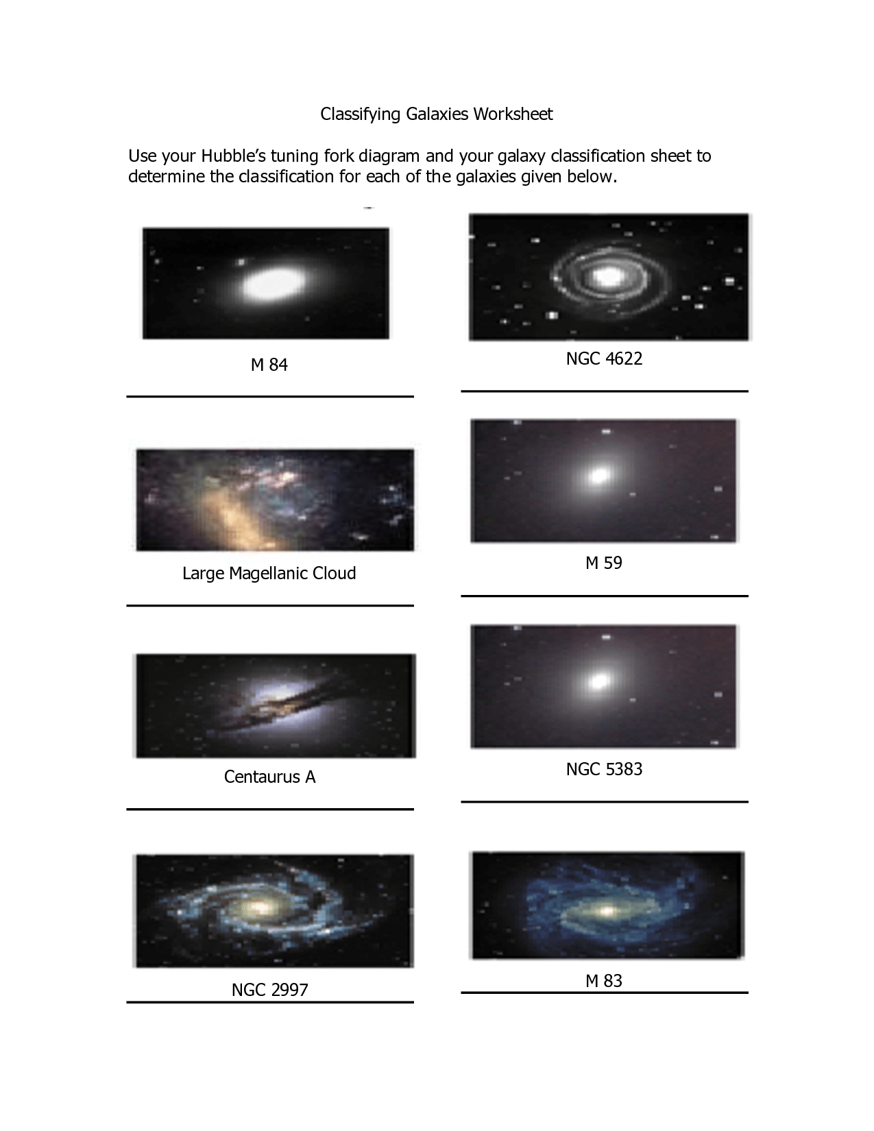 Types Of Galaxies Worksheet