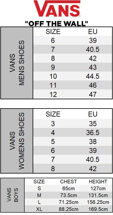 f1a4de88d1 Vans Size Chart Vans Size Charts Mersn Proforum Co Ayucar