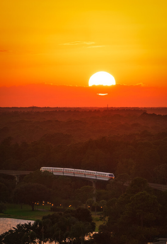 Sunset view of the monorail at Walt Disney World
