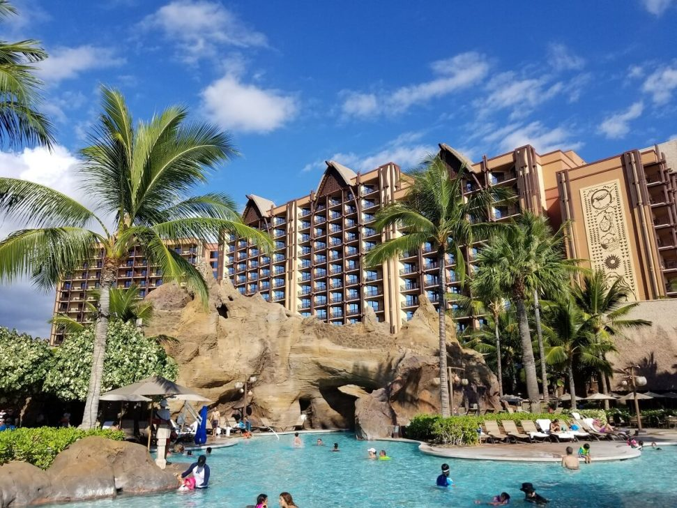 View of Disney's Aulani Resort from the pool