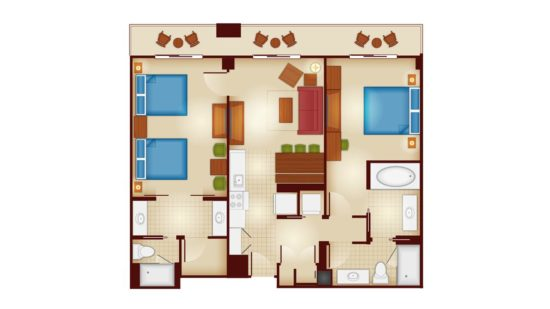 Disney's Copper Creek 2-Bedroom Flooplan